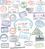 Vector passport stamps collection.