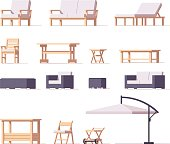 Vector low poly patio and outdoor equipment and furniture set