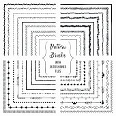 Flexible, color adjustable, easy to reshape and resize seamless pattern brushes collection. With outer and inner tiles corners. Vector Illustration. Hand-drawn Doodle Style