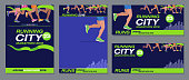 Vector pattern design jogging marathon advertising banner style navy blue foot runners city