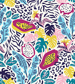 Seamless pattern with rainforest plants and fruits. Trendy abstract tropical design for textiles