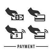Vector payment icon set, hand with cash money, card and smartphone for bank or online pay silhouette business symbol.