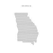 Vector People Map of Georgia, US State. Stylized Silhouette, People Crowd in the Shape of a Map of Georgia. Georgia Population. Illustration Isolated on White Background.