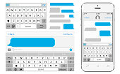 Vector phone chat interface. Sms messenger. Speech bubbles. Vector illustration