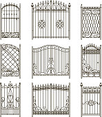 Vector pictures of iron doors or gates with swirls, borders and other decorative elements. Steel vintage forging gate and fence monochrome illustration