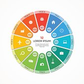 Vector pie chart circle infographic template with 12 options