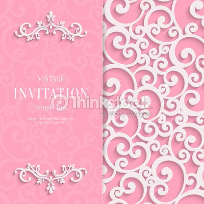 Vector pink 3d vintage invitation card with swirl damask pattern vector pink 3d vintage invitation card with swirl damask pattern vector art stopboris Images