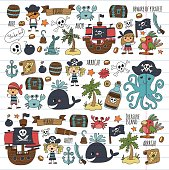 Vector pirates Children cartoon illustration Kids drawing style for kids party in pirate style