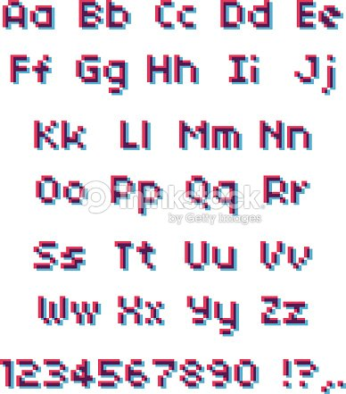 Vector Pixel Alphabet Pink And Blue Letters And Numbers