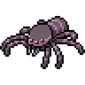 vector pixel art spider monster isolated cartoon
