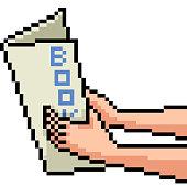 vector pixel art hand book isolated cartoon
