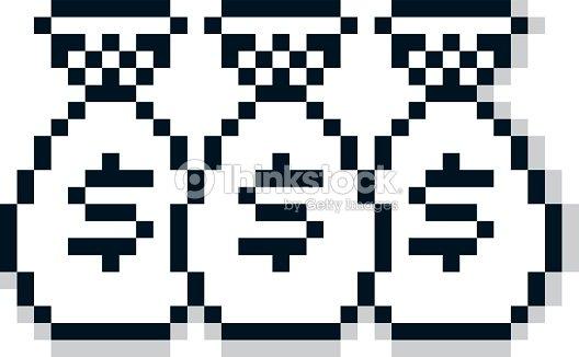vector pixel icon isolated 8bit graphic element bags of money vector