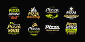 Vector pizza set icons, labels, symbols signs