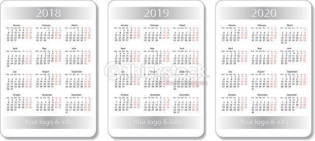 Vector De Calendario 2020.Vector Pocket Calendar Set 2018 2019 And 2020 Years White