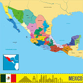 Vector highly detailed political map of Mexico with regions and their capitals. All elements are separated in editable layers clearly labeled. EPS 10