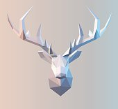 Polygonal vector low poly deer illustration. Stag graphic element for designs. 3d paper fold design effect.