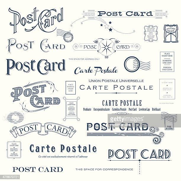 Vektor-Postkarte Design-Elemente