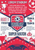Soccer cup championship or football tournament sport game poster for college football team. Vector design of soccer ball at arena stadium, goal gates winner cup and laurel stars