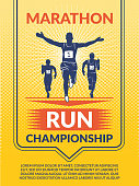 Vector poster for sport club. Marathon runners athlete, competition sport champion, poster and banner illustration