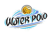 Vector poster for Water Polo, creative outline illustration of throwing ball in goal, original decorative brush typeface for words water polo, simple cartoon sports banner with lines and dots on white