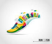 Colorful vector poster - running shoe and city lanscape