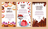 Bakery shop desserts poster template. Vector cakes, pies or cupcakes and pastry pudding tortes, biscuit cookies or chocolate muffins, cheesecake and brownie tar for cafe or patisserie