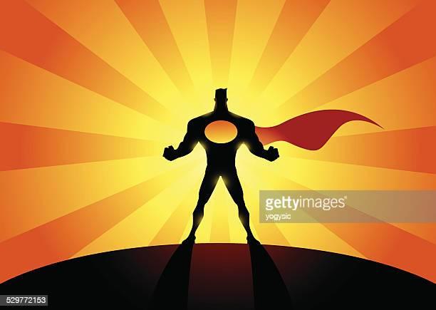 Vektor leistungsstarke Superhelden-Silhouette
