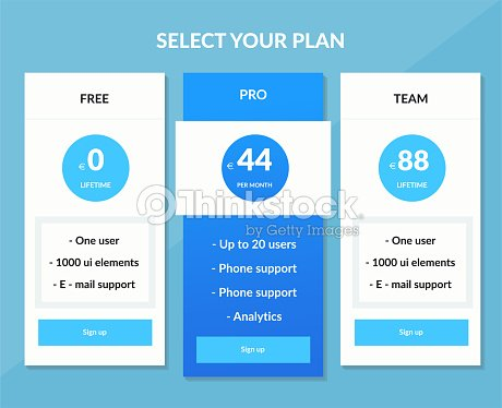 vector pricing table template vector art thinkstock