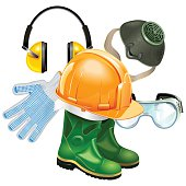 Vector Protective Equipment Concept with construction helmet, rubber boots, earphones, respirator, goggles and mittens, isolated on white background