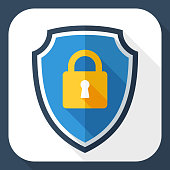 Vector Protective shield icon with the image of a padlock. Security concept simple icon in flat style with long shadow