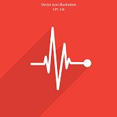 Vector pulse icon Heart beat cardiogram. Eps 10.