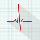 Vector pulse icon isolated over cardiogram grid, hospital related vector icon