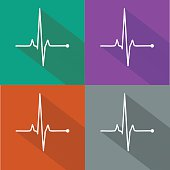 Vector pulse icons set, cardiogram signs, heartbeat icon collection isolated over colored boxes
