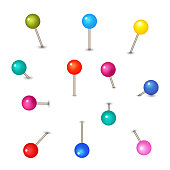 Vector pushpins isolated on white background. Push pins for map. Set of colored pins with knob illustration