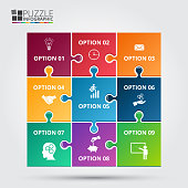 Vector puzzle infographic. Template for diagram, graph, presentation and chart. Business concept with 9 options, parts, steps or processes. Data visualization.