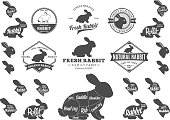 Set of rabbit labels. Butchery labels with sample text. Rabbit design elements, icons and silhouettes for groceries, meat stores, packaging and advertising. Rabbit cuts diagram