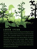 vector rainforest wetland silhouettes in sunset design template with heron, deer, gator, ibis. turtle, kingficher and cormorant