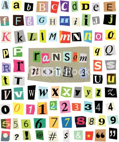 Vector Ransom Note 3 Cut Paper Letters Numbers Symbols Vector Art