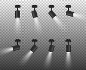 Vector Realistic 3d Black Spotlights Set in Different Slopes Closeup Isolated on Transparent Background. Design Template of Bright Lighting Glowing Spots with Ligh Effect for Ceremony, show, stage etc