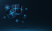 Vector realistic 3d cubes with neon parts compose on dark space background . Cyberspace ,Hi tech , futuristic vector illustration .