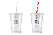 Vector realistic 3d empty clear plastic disposable cup with a straw set closeup isolated on white background. Design template of packaging mockup for graphics - milkshake, tea, fresh juice, lemonade,