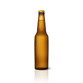 Vector realistic 3d empty glossy brown beer bottle with cap icon closeup isolated on white background. Design template of packaging mockup for graphics. Front view. Packing for design.