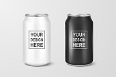 Vector realistic 3d empty glossy metal white and black aluminium beer pack or can set visual 330ml. Can be used for lager, alcohol, soft drink, soda, fizzy pop, lemonade, cola, energy drink, juice, wa