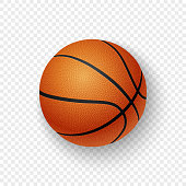 Vector realistic 3d orange brown classic basketball icon closeup isolated on transparency grid background. Design template for graphics, mockup. Top view.