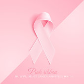 Realistic 3d pink ribbon, breast cancer awareness symbol. Vector elegant bow closeup, woman female health support solidarity emblem. pink illustration, background hope banner poster design
