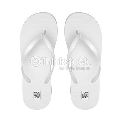 1051032f5b7a Vector Realistic 3d White Blank Empty Flip Flop Set Closeup Isolated on White  Background. Design Template of Summer Beach Holiday Flip Flops Pair For ...