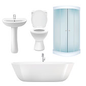 Vector bathroom icon set. Realistic illustration of bathtub, corner shower cabin, washbasin, toilet.