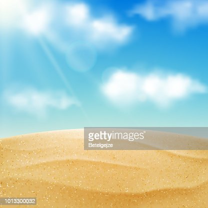 Vector realistic beach landscape. Yellow sand desert and blue sky with clouds. Summer vacation background : stock vector