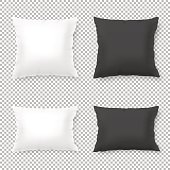 Vector realistic blank white, black square and rectangular pillow or cushion icon set isolated on transparent background. Design template, EPS10 illustration.