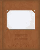 vector realistic brown leather vintage cover photo album with ornament and inserted a clean old photos